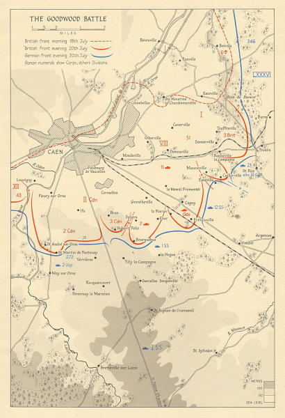 Associate Product Operation Goodwood. Battle for Caen 18-20 July 1944. Normandy Overlord 1962 map