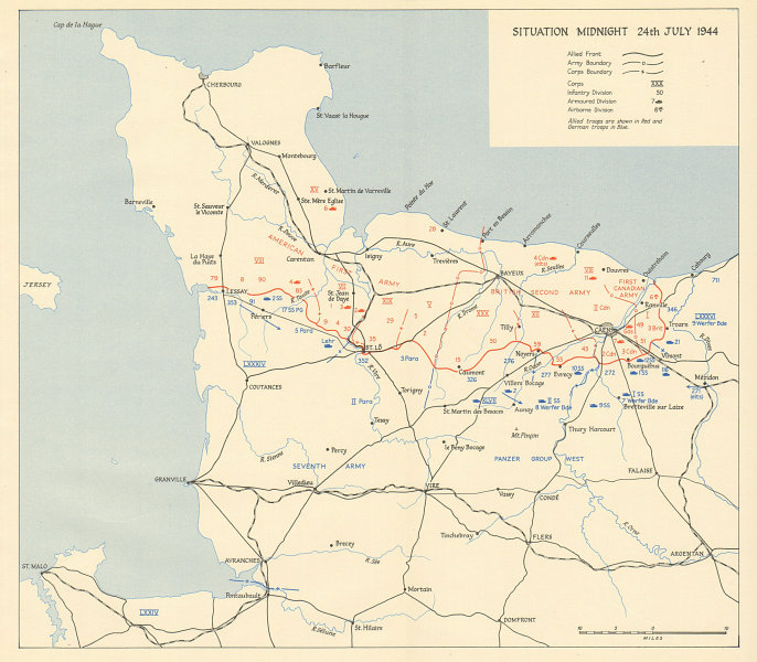 Associate Product D-Day Normany landings. Situation midnight 24 July 1944. Overlord 1962 old map
