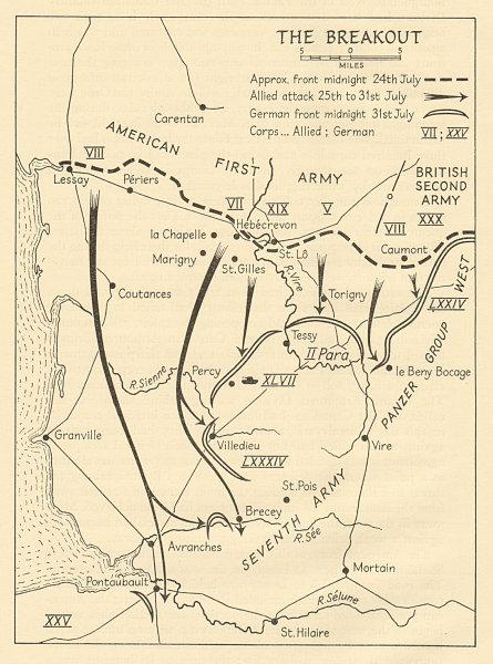 Associate Product Operation Cobra 24-31 July 1944 Cotentin Normandy American 1st Army 1962 map