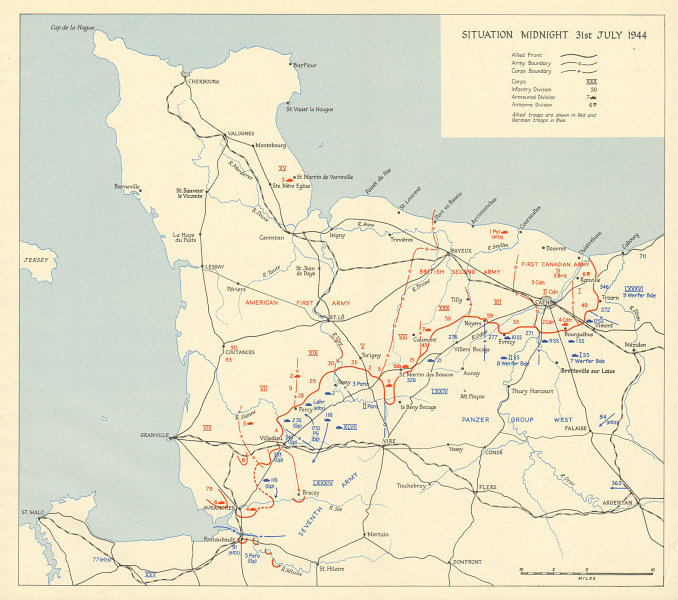 D-Day Normany landings. Situation midnight 31 July 1944. Overlord 1962 old map