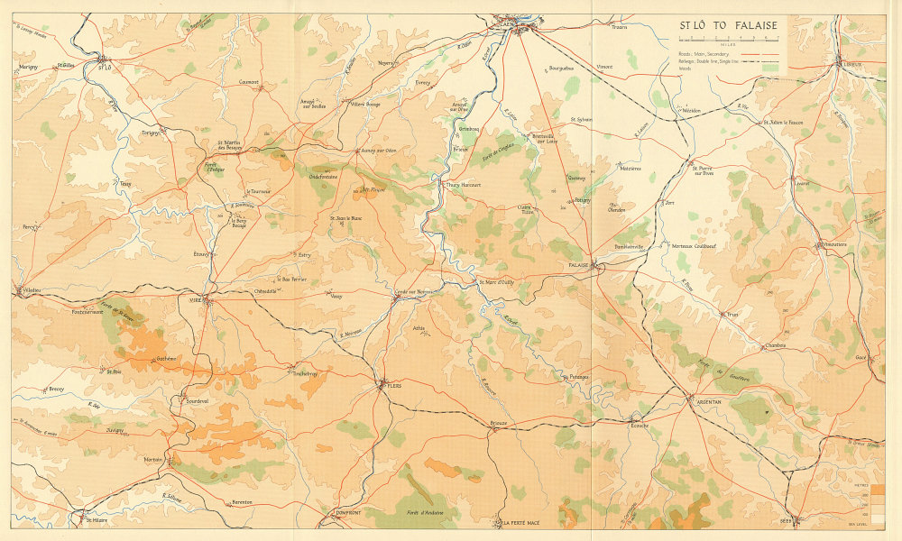 Associate Product Operation Overlord. St. Lô to Falaise 1944. Caen Normandy 1962 old vintage map