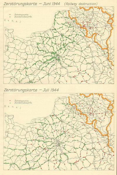 Associate Product Zerstörungskarte June & July 1944 Railway Destruction France Belgium 1962 map