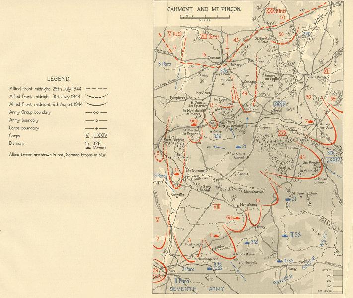 Associate Product Operation Bluecoat. Caumont & Mt. Pinçon 29 July-6 August 1944 Normandy 1962 map