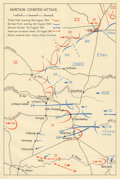 Associate Product Operation Lüttich. Mortain counter-attack 6-7 August 1944. Normandy 1962 map