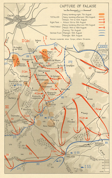 Associate Product Capture of Falaise pocket 7-16 August 1944 Normandy Operation Overlord  1962 map