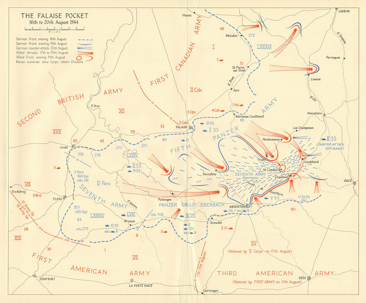 Associate Product Battle of Falaise Pocket 16-20 August 1944 Operation Overlord Normandy 1962 map