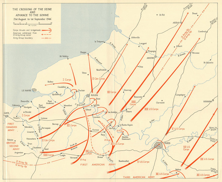 Associate Product Overlord Normandy Crossing Seine Advance to Somme 21 Aug-1 Sept 1944 1962 map