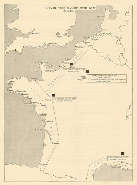 Associate Product German Naval Command Group West, June 1944. France. Operation Overlord 1962 map
