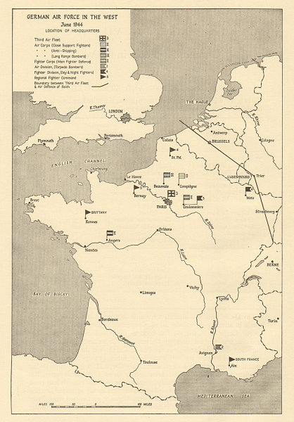 Associate Product German Air Force in France June 1944 HQ locations. Operation Overlord 1962 map
