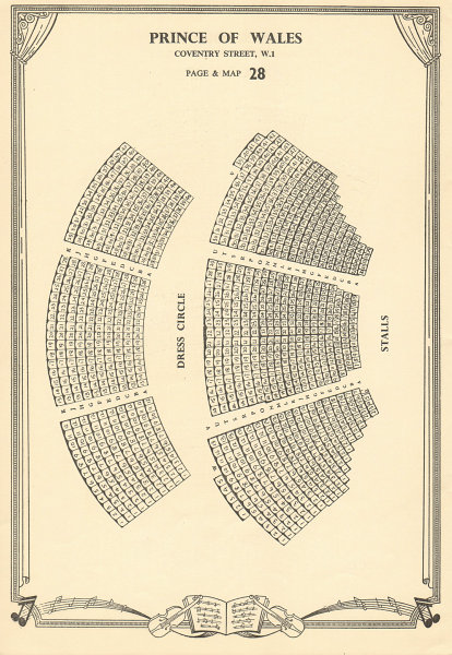 Associate Product Prince of Wales Theatre, Coventry Street, London. Vintage seating plan c1955