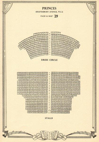 Associate Product Princes (Shaftesbury) Theatre, Shaftesbury Avenue. Vintage seating plan c1955