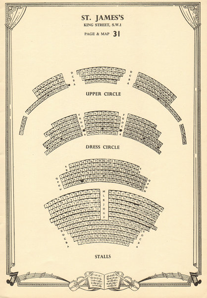 Associate Product St. James's Theatre, King Street, London. Vintage seating plan c1955 old print