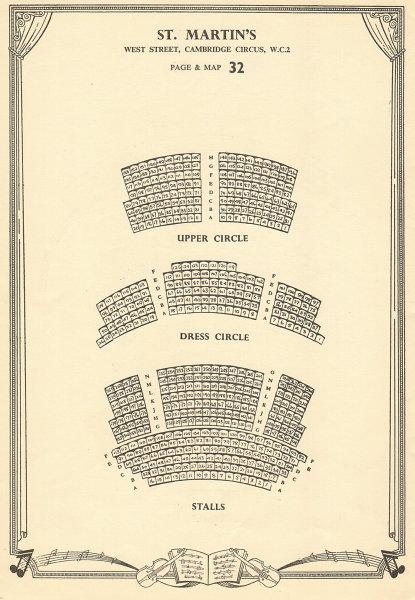 Associate Product St. Martin's Theatre, West Street, Cambridge Circus. Vintage seating plan c1955