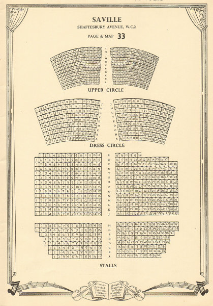 Associate Product Saville Theatre, Shaftesbury Ave Odeon Covent Garden. Vintage seating plan c1955