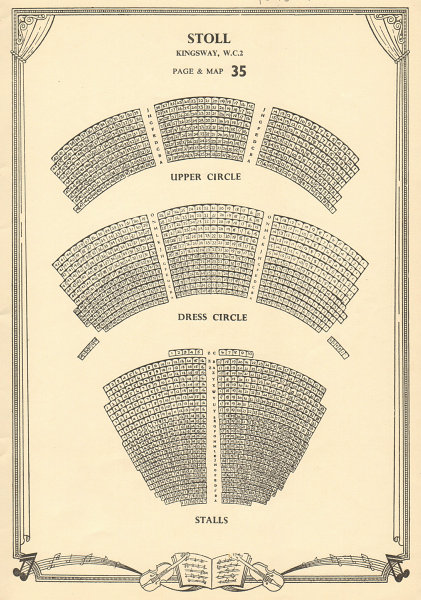 Stoll (now Peacock) Theatre, Kingsway, London. Vintage seating plan c1955
