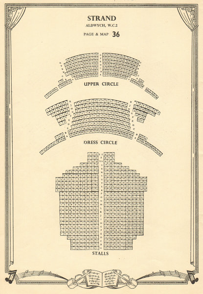Associate Product Strand (now Novello) Theatre, Aldwych, London. Vintage seating plan c1955