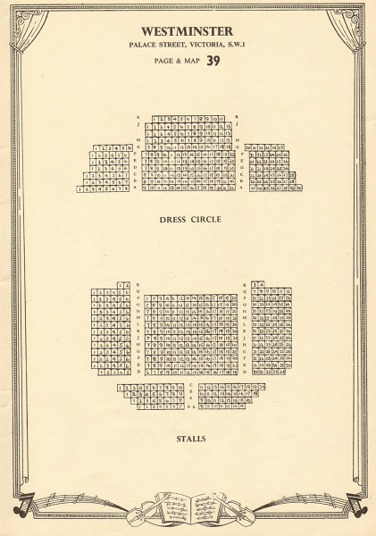 Associate Product Westminster (now St James's) Theatre, Palace Street. Vintage seating plan c1955