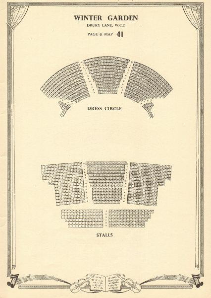 Associate Product Winter Garden (Gillian Lynne) Theatre, Drury Lane. Vintage seating plan c1955