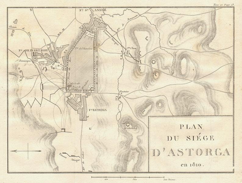 Associate Product Plan of the Siege of Astorga in 1812. León, Spain. Peninsular War 1817 old map