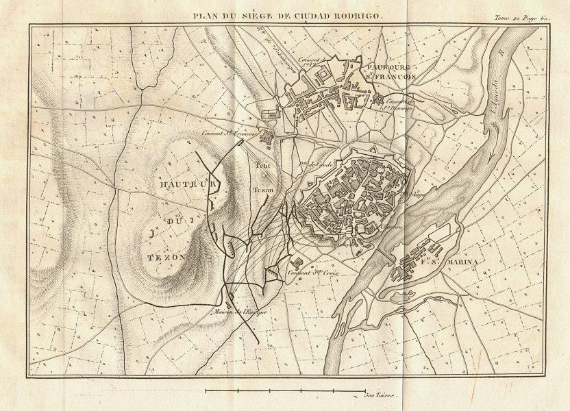 Associate Product Siege of Ciudad-Rodrigo plan 1812. Salamanca, Spain. Peninsular War 1817 map