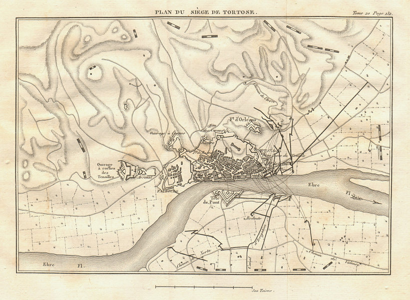 Associate Product Plan of the Siege of Tortosa 1810-11. Catalonia, Spain. Peninsular War 1817 map