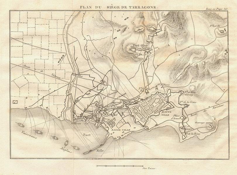 Associate Product Plan of the Siege of Tarragona in 1811. Catalonia Spain. Peninsular War 1817 map