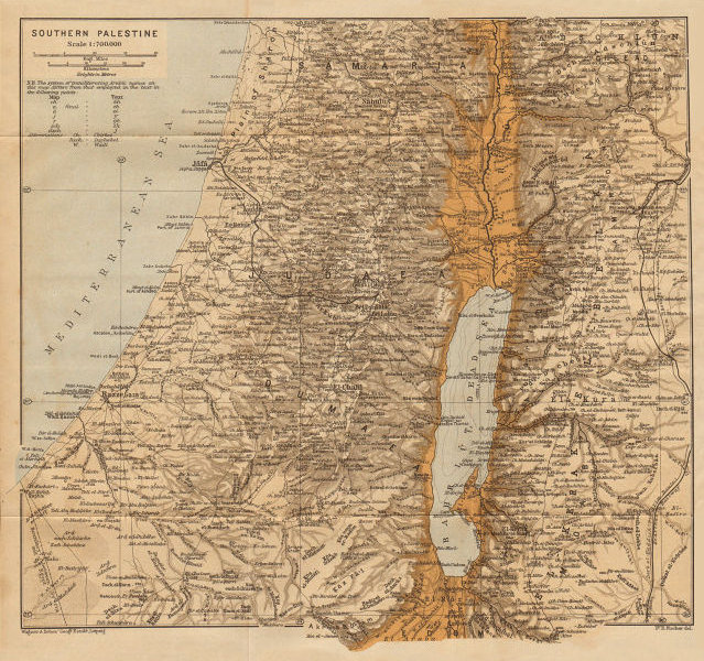 Southern Palestine. Israel 1912 old antique vintage map plan chart