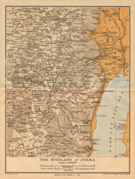 Associate Product Highlands of Judea. West Bank Israel Palestine 1912 old antique map plan chart