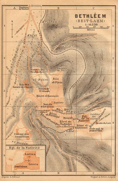 Bethlehem / Bayt Lahm antique town city plan. Israel. West Bank 1912 old map