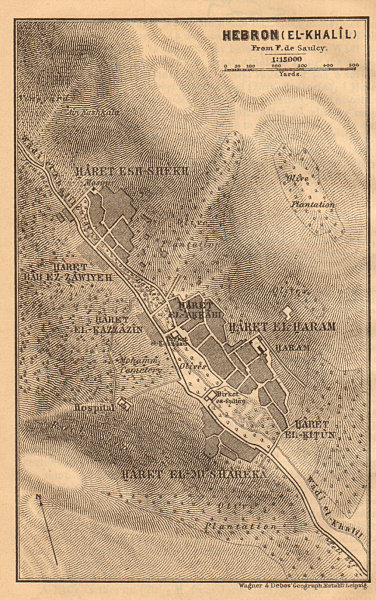 Associate Product Hebron / al-Khalil antique town city plan. Israel. West Bank 1912 old map