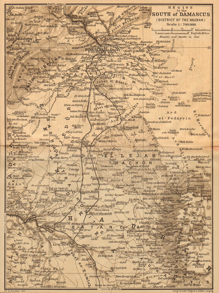 Associate Product Country south of Damascus, with the Hauran. Syria 1912 old antique map chart