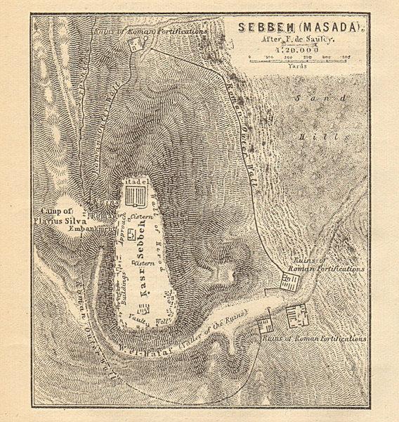 Masada fortress, Dead Sea. Israel. SMALL 1912 old antique map plan chart