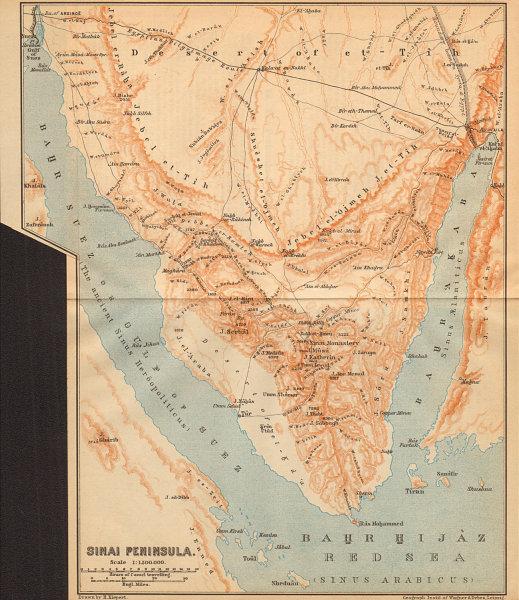 Details about Sinai Peninsula, Egypt. Gulfs of Aqaba & Suez. Sharm  el-Sheikh Eilat 1912 map