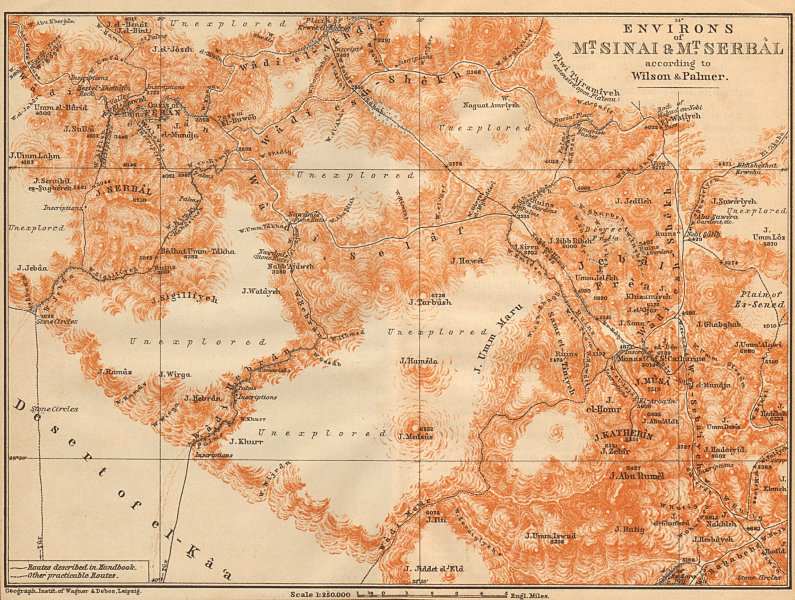 Associate Product Environs of Mount Sinai and Mt. Serbal. Egypt 1912 old antique map plan chart