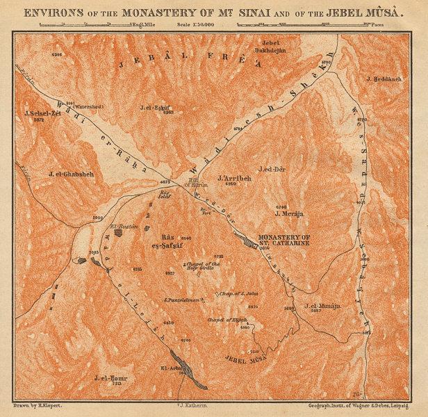 Associate Product Environs of St Catherine's Monastery, Mt. Sinai & Jebel Musa. Egypt 1912 map