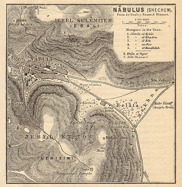 Nablus (Shechem) antique town city plan. Israel. West Bank. SMALL 1912 old map
