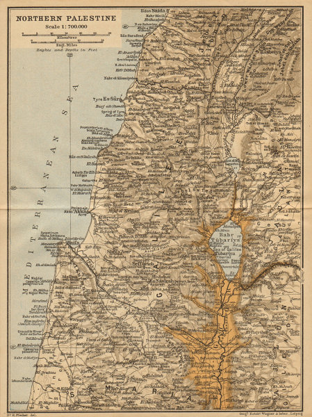 Associate Product 'Northern Palestine'. N. Israel & southern Lebanon. Sidon-Netanya coast 1912 map