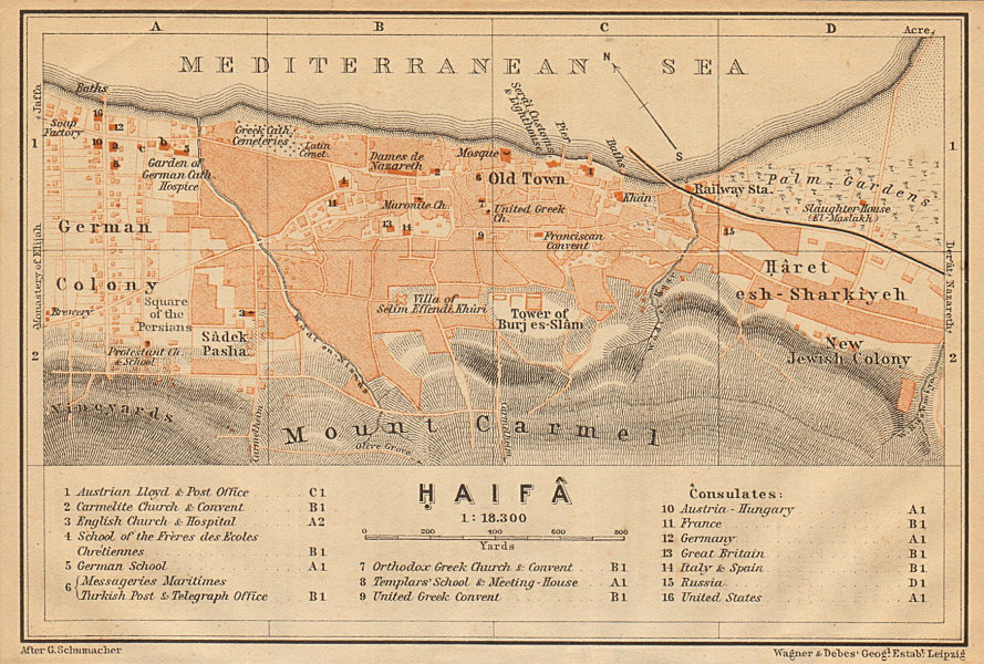 Haifa antique town city plan. Israel 1912 old vintage map chart