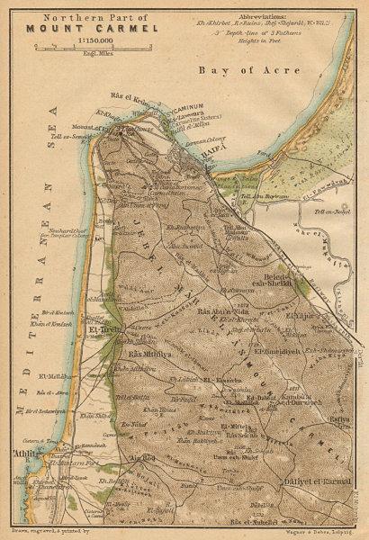 North part of Mount Carmel. Haifa environs. Atlit. Israel 1912 old antique map