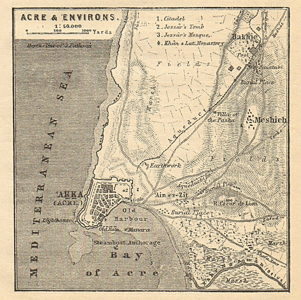 Associate Product Acre & environs antique town city plan. Akko. Israel. SMALL 1912 old map