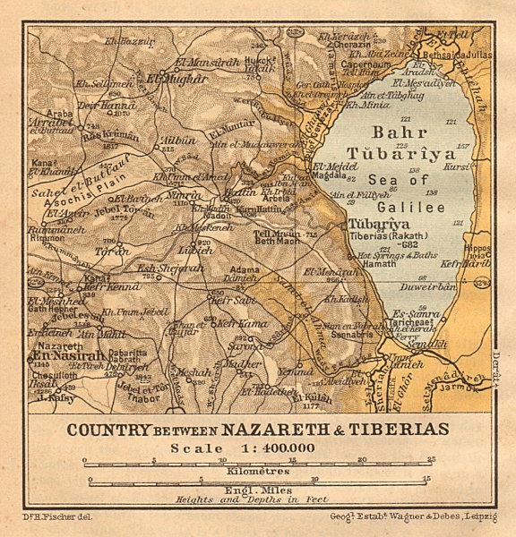 Country between Nazareth & Tiberias. Sea of Galilee. Israel. SMALL 1912 map