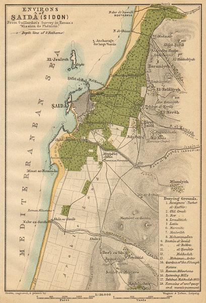 Associate Product Sidon / Sayda & environs plan. Lebanon 1912 old antique vintage map chart