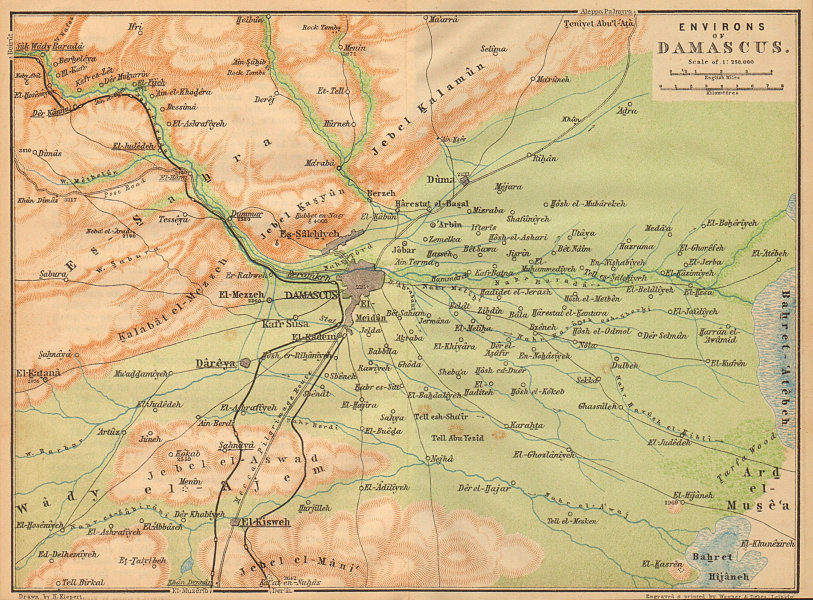 Associate Product Damascus & environs. Syria 1912 old antique vintage map plan chart