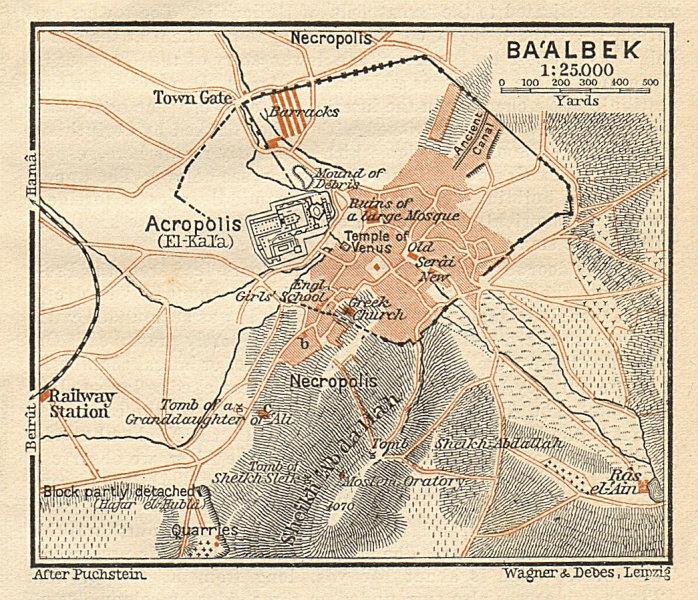 Associate Product Baalbek plan. Ba'albek. Lebanon. SMALL 1912 old antique vintage map chart