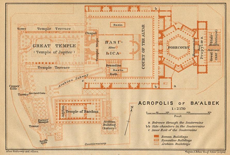 Associate Product Acropolis of Baalbek. Ba'albek. Lebanon 1912 old antique map plan chart