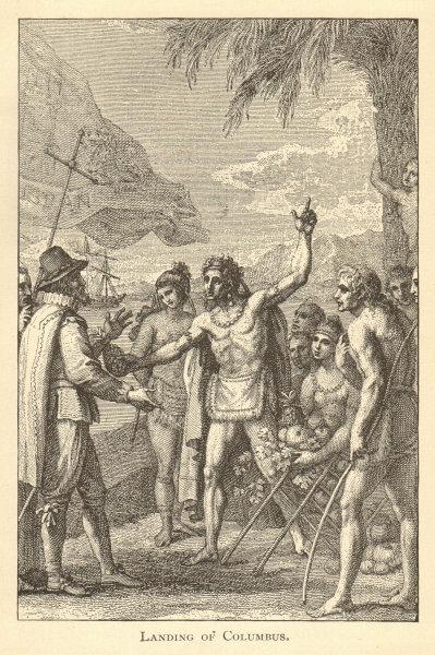 Associate Product Christopher Columbus landing on San Salvador, Bahamas 1891 old antique print