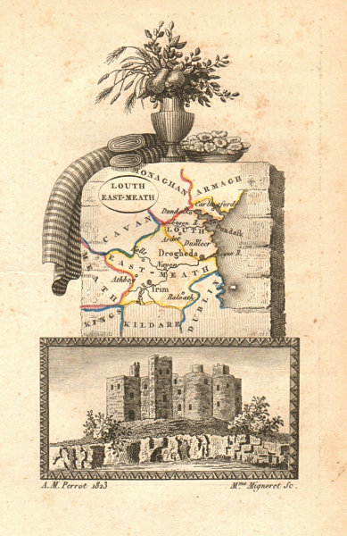 Associate Product EAST MEATH (MEATH) & LOUTH antique county map by PERROT. Leinster 1824 old