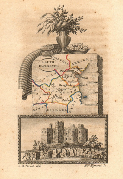 Associate Product LOUTH & EAST MEATH (MEATH) antique county map by PERROT. Leinster 1824 old