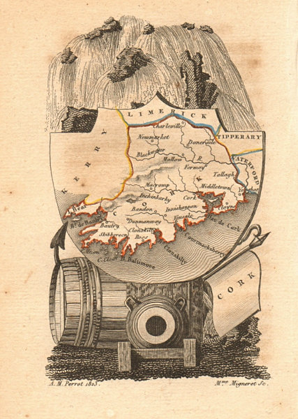 Associate Product CORK antique county map by PERROT. Munster 1824 old plan chart