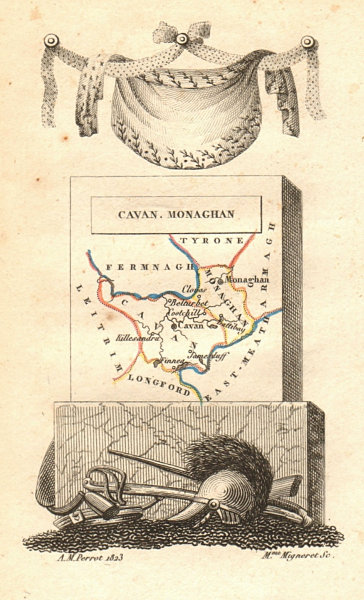 Associate Product CAVAN & MONAGHAN antique county map by PERROT. Ulster 1824 old